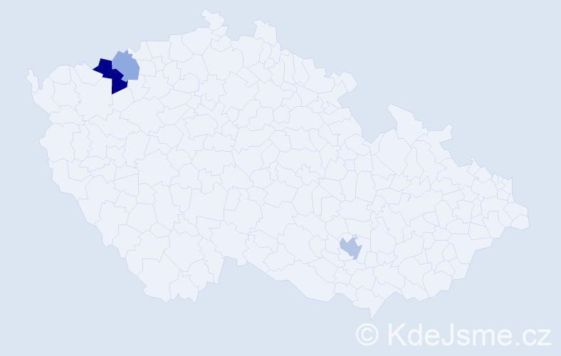 Příjmení: 'Kheler', počet výskytů 6 v celé ČR