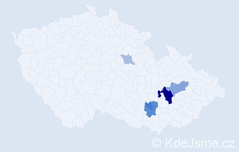 Příjmení: 'Kožnárková', počet výskytů 21 v celé ČR
