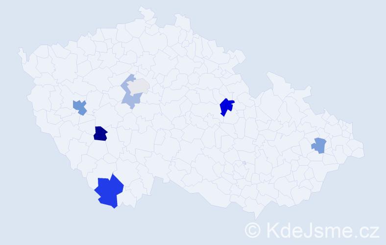 Příjmení: 'Ilovičná', počet výskytů 11 v celé ČR