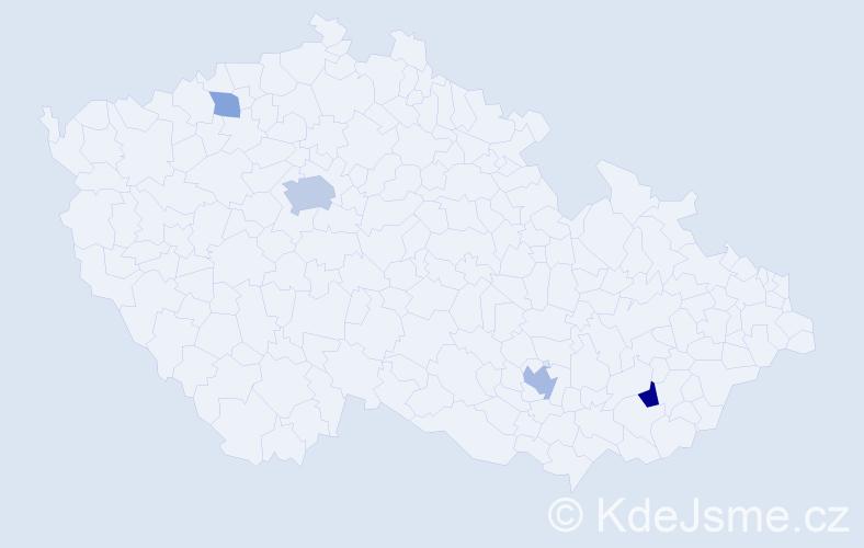 Příjmení: 'Jovanovski', počet výskytů 9 v celé ČR