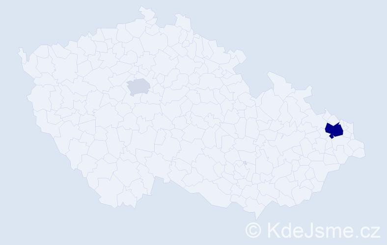 Příjmení: 'Gizický', počet výskytů 6 v celé ČR