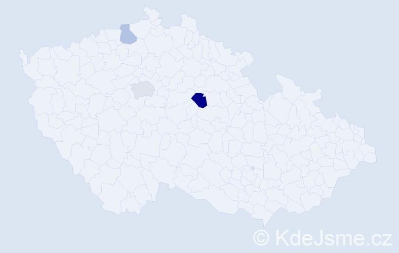 Příjmení: 'Audi', počet výskytů 5 v celé ČR