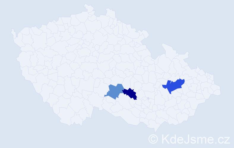 Příjmení: 'Hágerová', počet výskytů 4 v celé ČR