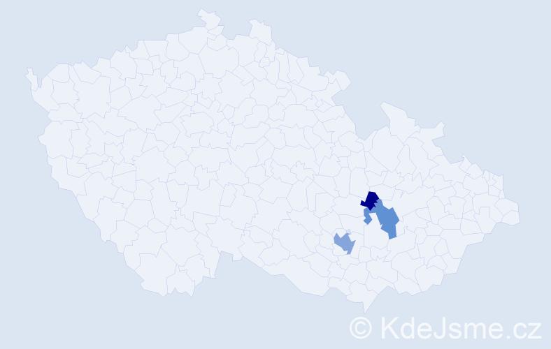Příjmení: 'Enev', počet výskytů 9 v celé ČR