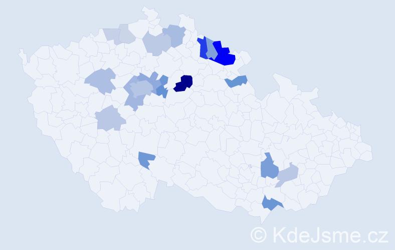 Příjmení: 'Bánská', počet výskytů 46 v celé ČR