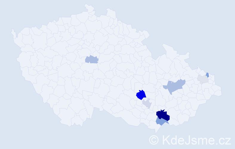 Příjmení: 'Hadamíková', počet výskytů 19 v celé ČR