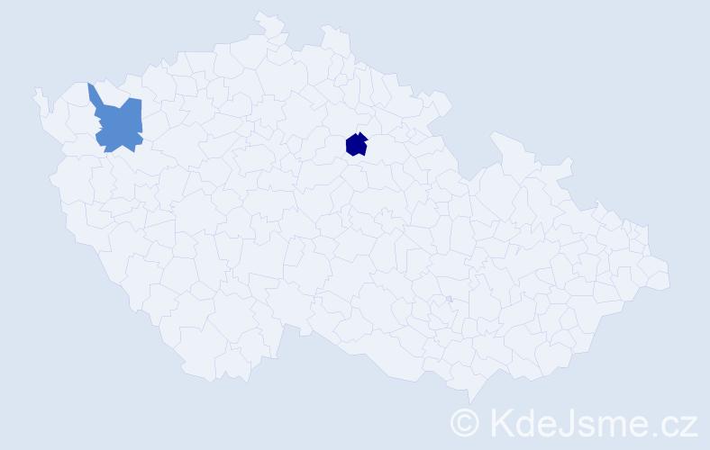 Příjmení: 'Árendáš', počet výskytů 3 v celé ČR