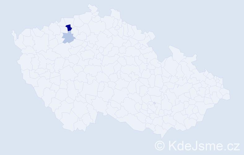 Příjmení: 'Harausová', počet výskytů 5 v celé ČR