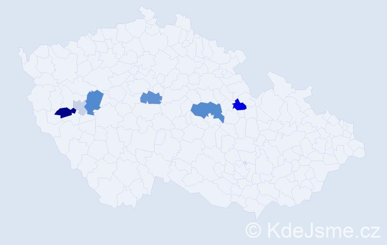 Příjmení: 'Jetonický', počet výskytů 12 v celé ČR