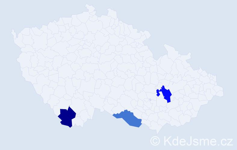 Příjmení: 'Hoššová', počet výskytů 7 v celé ČR