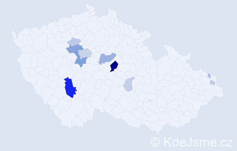 Příjmení: 'Kareta', počet výskytů 47 v celé ČR