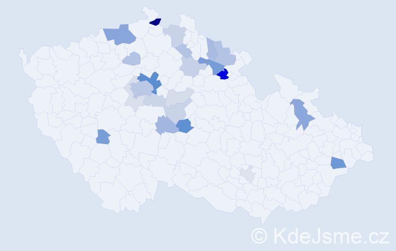 Příjmení: 'Kalfusová', počet výskytů 71 v celé ČR