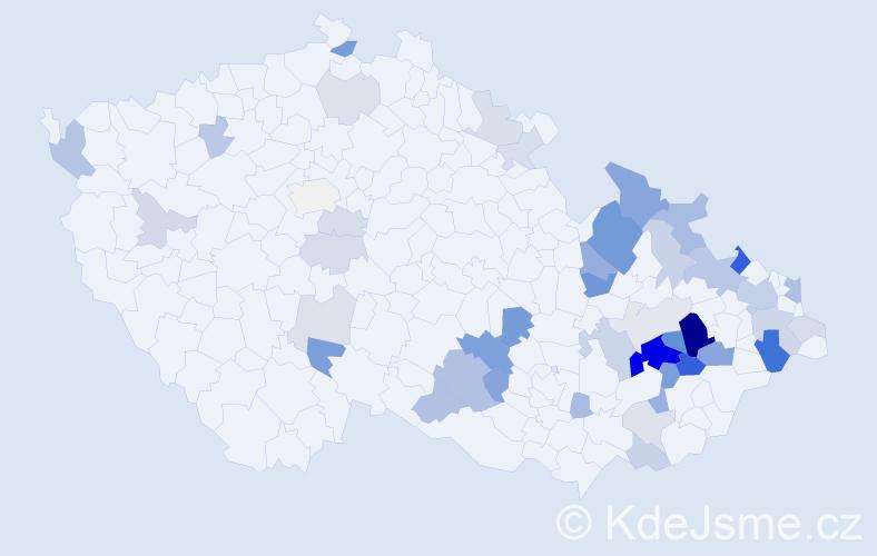 Příjmení: 'Kajnarová', počet výskytů 114 v celé ČR
