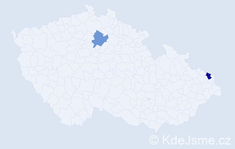 Příjmení: 'Kendová', počet výskytů 7 v celé ČR