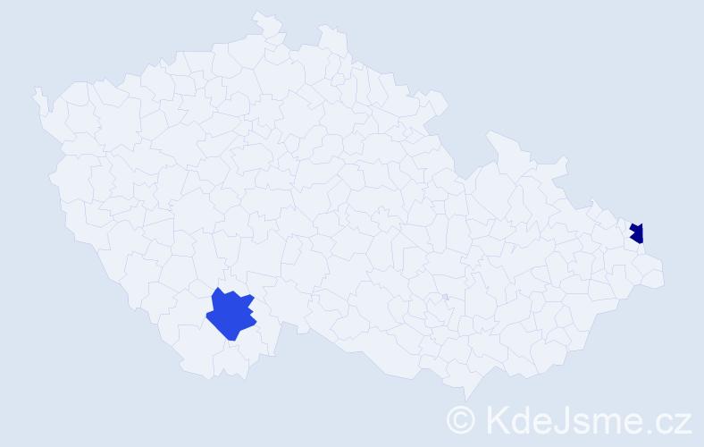 Příjmení: 'Beszédes', počet výskytů 2 v celé ČR