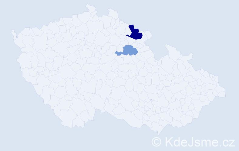 Příjmení: 'Bohouš', počet výskytů 3 v celé ČR