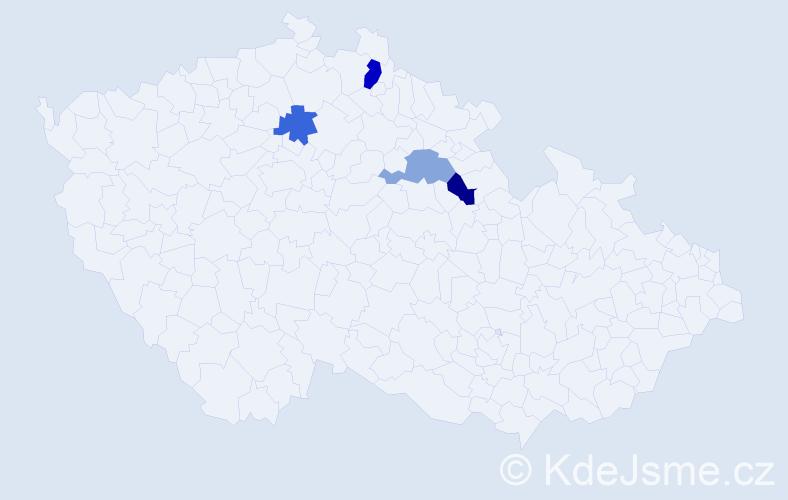 Příjmení: 'Harvilko', počet výskytů 5 v celé ČR