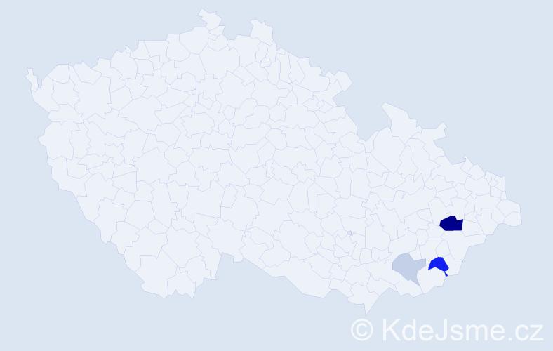 Příjmení: 'Kotrady', počet výskytů 9 v celé ČR
