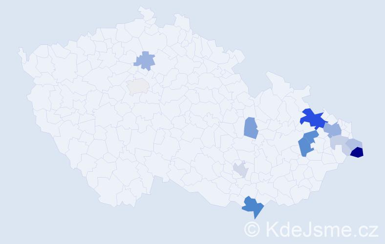Příjmení: 'Lacheta', počet výskytů 29 v celé ČR