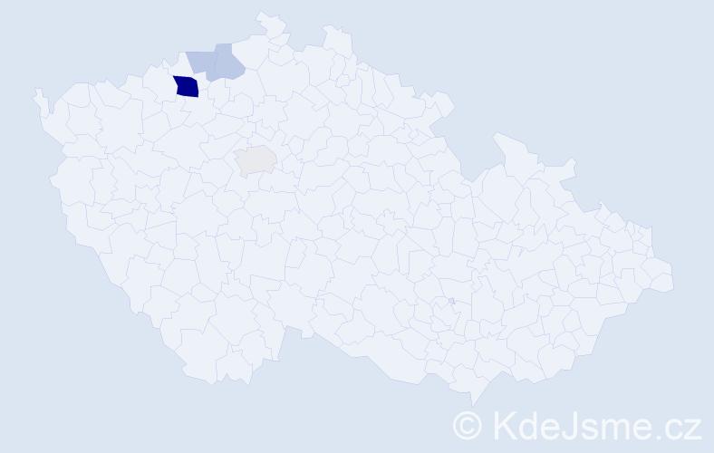 Příjmení: 'Eserová', počet výskytů 10 v celé ČR