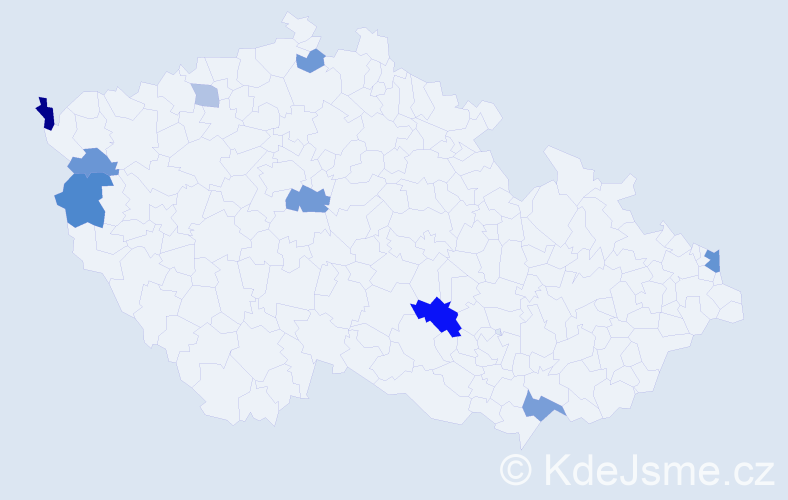 Příjmení: 'Jágriková', počet výskytů 17 v celé ČR