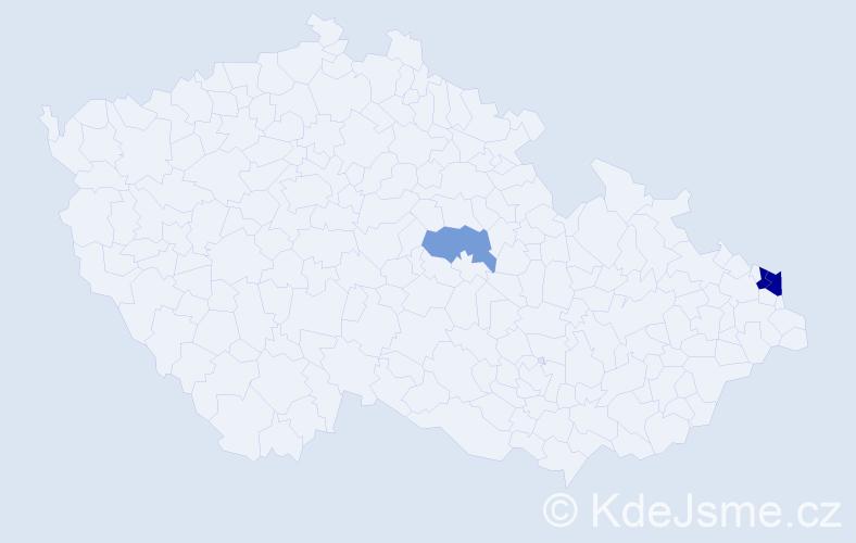 Příjmení: 'Gurányi', počet výskytů 6 v celé ČR