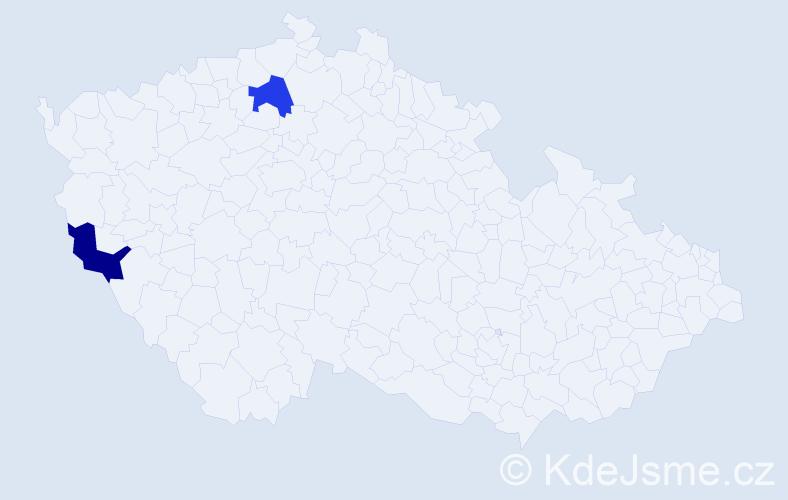 Příjmení: 'Gmitterová', počet výskytů 4 v celé ČR