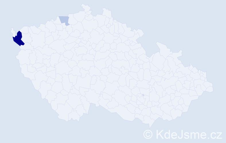 Příjmení: 'Irlweg', počet výskytů 6 v celé ČR