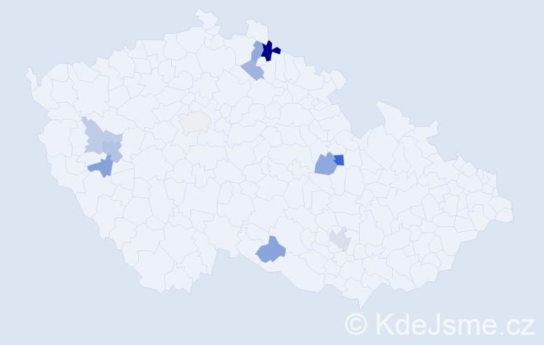 Příjmení: 'Haňák', počet výskytů 19 v celé ČR