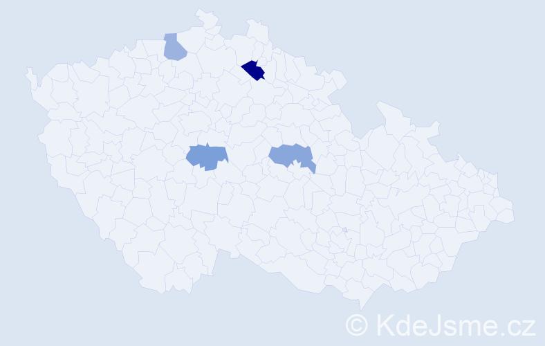 Příjmení: 'Hallman', počet výskytů 5 v celé ČR