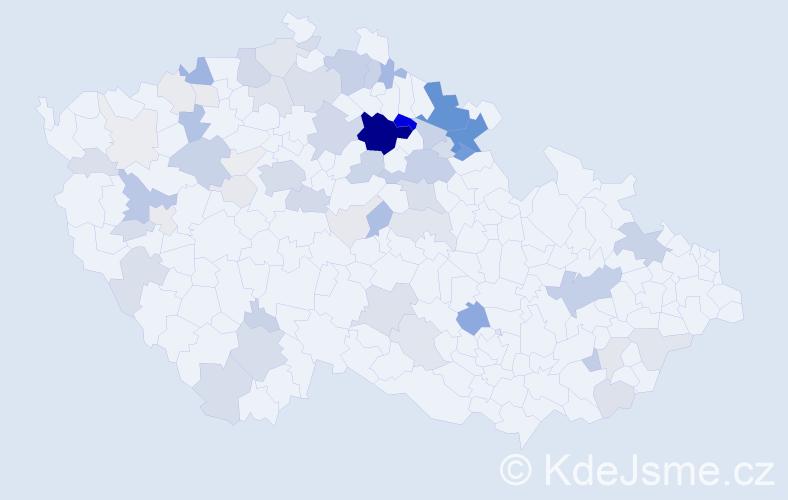 Příjmení: 'Frýba', počet výskytů 260 v celé ČR