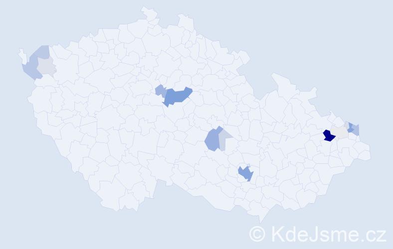 Příjmení: 'Kakur', počet výskytů 96 v celé ČR