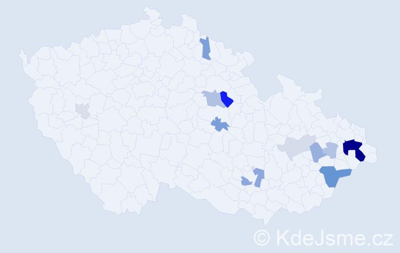 Příjmení: 'Kunát', počet výskytů 30 v celé ČR