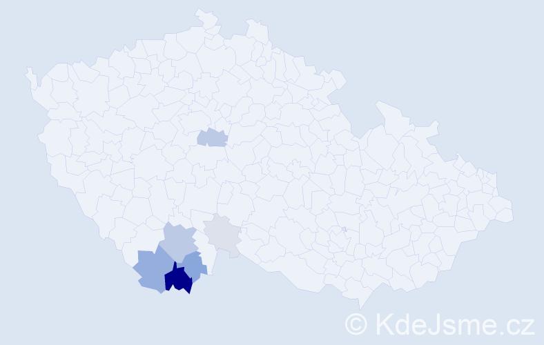 Příjmení: 'Koclíř', počet výskytů 26 v celé ČR