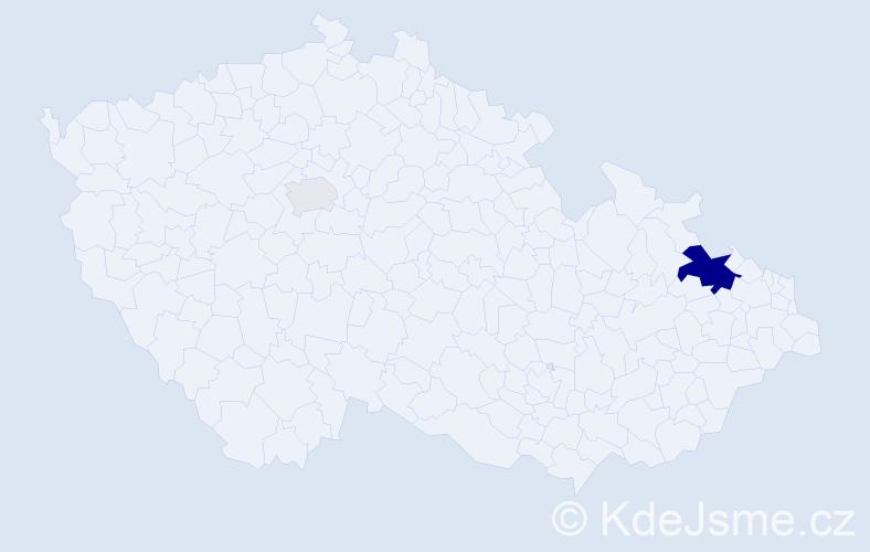 Příjmení: 'Hodkovicová', počet výskytů 7 v celé ČR