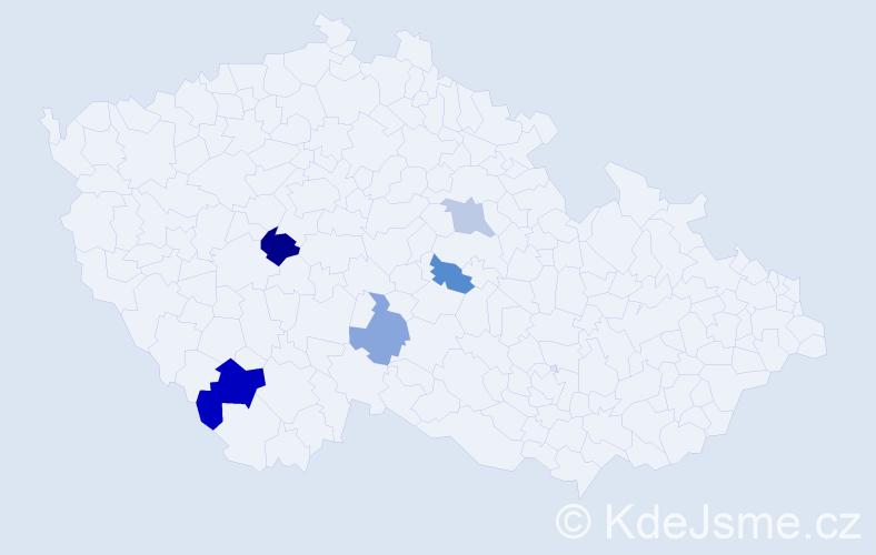 Příjmení: 'Gášparová', počet výskytů 8 v celé ČR