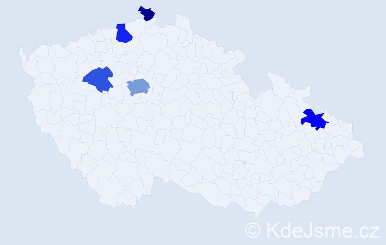 Příjmení: 'Dali', počet výskytů 12 v celé ČR