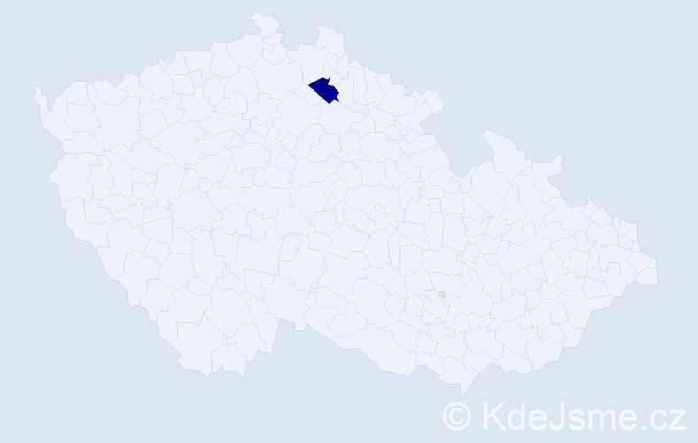 """Příjmení: '""""Blažková Hanušová""""', počet výskytů 1 v celé ČR"""