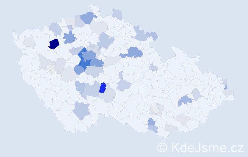 Příjmení: 'Čížkovská', počet výskytů 186 v celé ČR