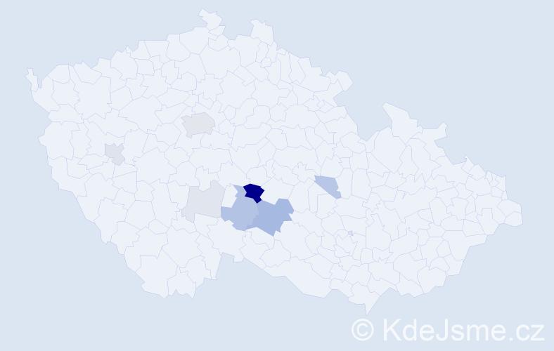 Příjmení: 'Kordovský', počet výskytů 54 v celé ČR