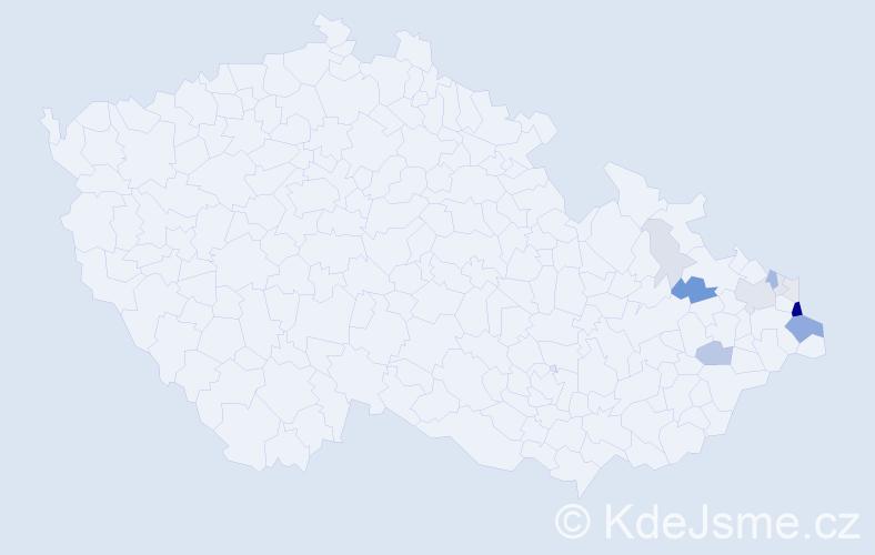Příjmení: 'Kabot', počet výskytů 40 v celé ČR