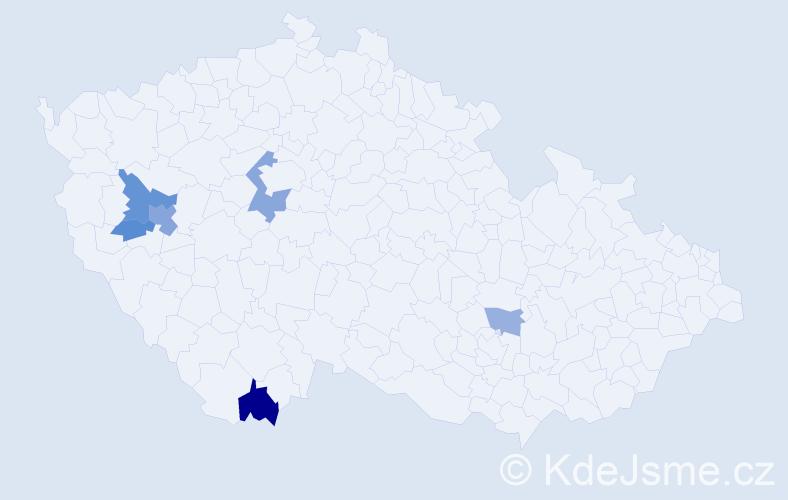 Příjmení: 'Bittengelová', počet výskytů 11 v celé ČR