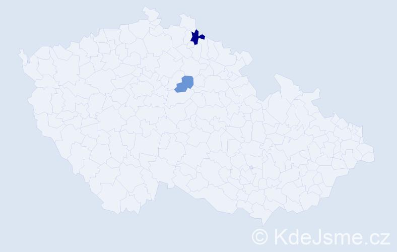 Příjmení: 'Ermannová', počet výskytů 3 v celé ČR