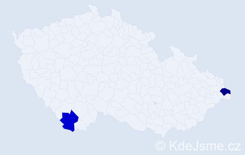 Příjmení: 'Mácsayová', počet výskytů 5 v celé ČR