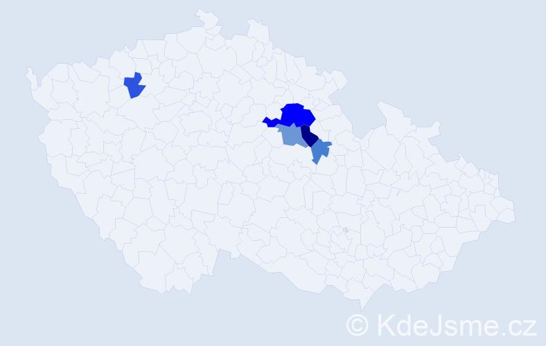 Příjmení: 'Bartízalová', počet výskytů 10 v celé ČR