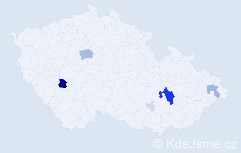 Příjmení: 'Barto', počet výskytů 14 v celé ČR