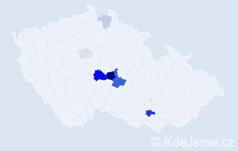 Příjmení: 'Domšová', počet výskytů 13 v celé ČR