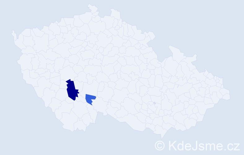 Příjmení: 'Andrlíček', počet výskytů 5 v celé ČR