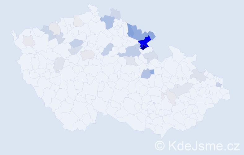 Příjmení: 'Chráska', počet výskytů 103 v celé ČR