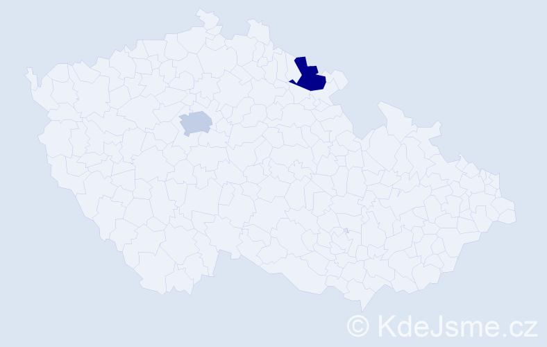 Příjmení: 'Armani', počet výskytů 2 v celé ČR